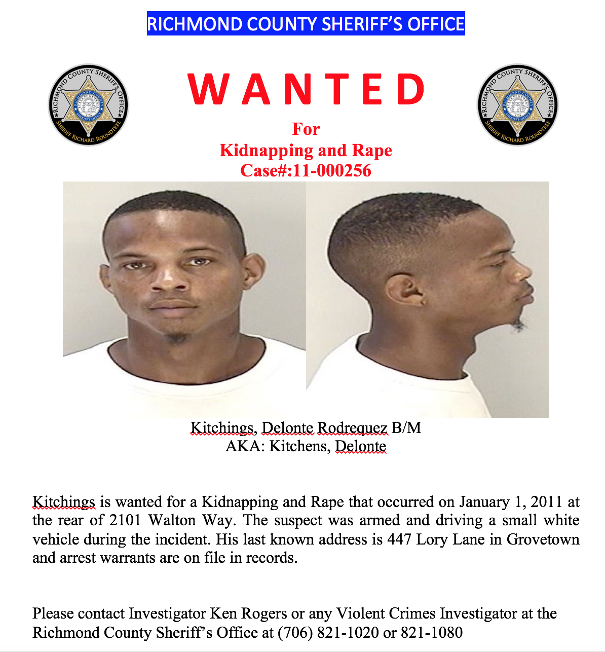 Bon Air Apartments: Wanted: Augusta Man Identified In 2011 Rape & Kidnapping